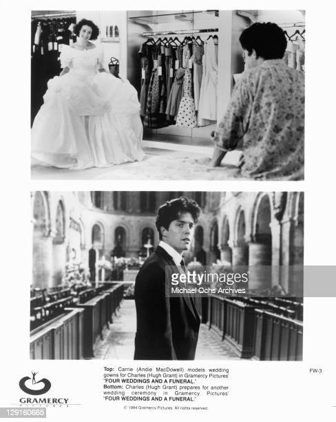 Andie MacDowell models wedding gown BOTTOM Hugh Grant prepares for another wedding ceremony in a scene from the film 'Four Weddings And A Funeral'...