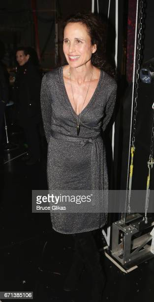 Andie MacDowell poses backstage at the hit musical based on the film Groundhog Day on Broadway at The August Wilson Theater on April 21 2017 in New...