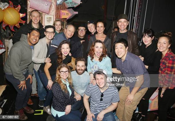Andie MacDowell poses with the cast backstage at the hit musical based on the film Groundhog Day on Broadway at The August Wilson Theater on April 21...