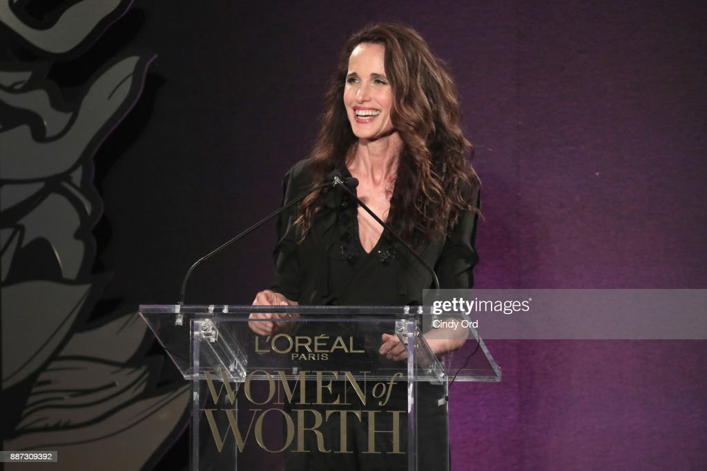 Andie MacDowell speaks onstage during the L'Oreal Paris Women of Worth Celebration 2017 on December 6, 2017 in New York City.