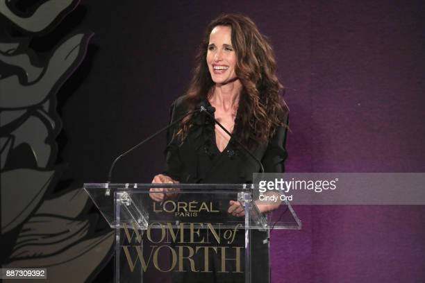 Andie MacDowell speaks onstage during the L'Oreal Paris Women of Worth Celebration 2017 on December 6 2017 in New York City
