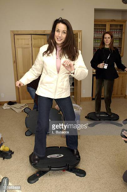 Andie MacDowell tries out the Core Board at the Reebok Retreat at the 2002 Sundance Film Festival in Park City Utah January 17 2002