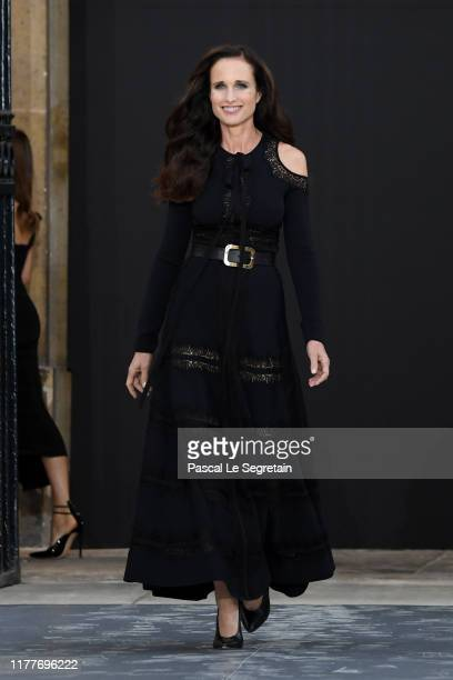 """Andie MacDowell walks the runway during the """"Le Defile L'Oreal Paris"""" Show as part of Paris Fashion Week on September 28, 2019 in Paris, France."""