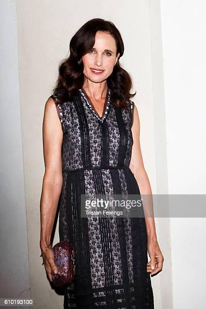 Andie MacDowell wearing Bottega Veneta attends the dinner honouring Bottega Veneta's Tomas Maier 15th anniversary as Creative Director during Milan...