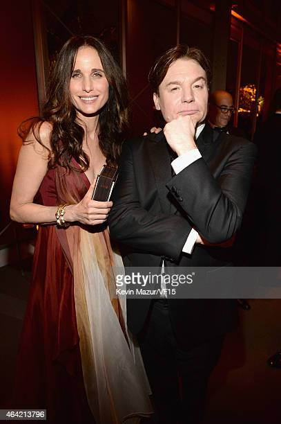 Andie McDowell and Mike Myers attend the 2015 Vanity Fair Oscar Party hosted by Graydon Carter at the Wallis Annenberg Center for the Performing Arts...