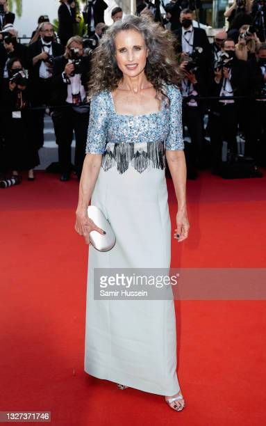 """Andie McDowell attends the """"Annette"""" screening and opening ceremony during the 74th annual Cannes Film Festival on July 06, 2021 in Cannes, France."""