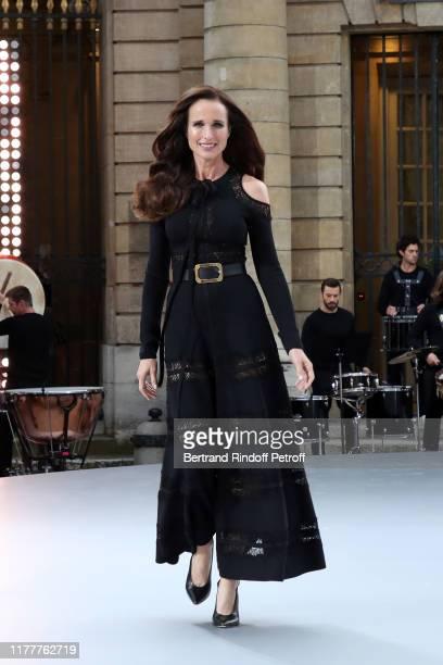 """Andie McDowell attends the """"Le Defile L'Oreal Paris"""" show as part of Paris Fashion Week At Monnaie de Paris on September 28, 2019 in Paris, France."""