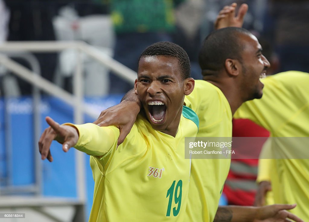 South africa v iraq mens football olympics day 5 andile fikizolo of south africa celebrates after teammate gift motupa scored a goal during the mens negle Images