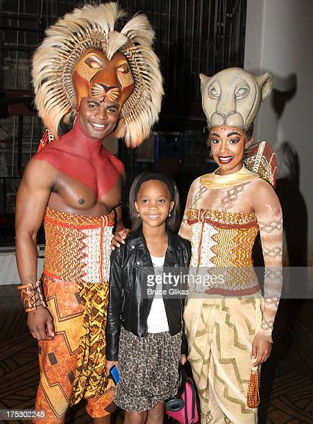Andile Gumbi as Simba Quvenzhané Wallis and Chantel Riley as Nala pose backstage at the hit musical The Lion King on Broadway at The Minskoff Theater...
