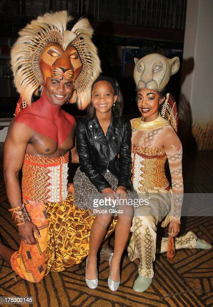 Andile Gumbi as Simba Quvenzhane Wallis and Chantel Riley as Nala pose backstage at the hit musical The Lion King on Broadway at The Minskoff Theater...