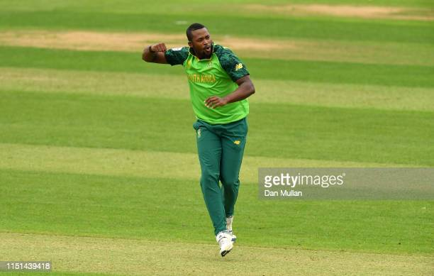 Andile Phehlukwayo of South Africa celebrates taking the wicket of Dhananjaya de Silva of Sri Lanka during the ICC Cricket World Cup 2019 Warm Up...