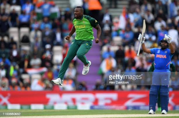 Andile Phehlukwayo of South Africa celebrates the wicket of Virat Kohli of India during the Group Stage match of the ICC Cricket World Cup 2019...