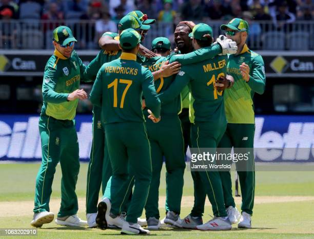 Andile Phehlukwayo of South Africa celebrates with his team mates during game one of the One Day International series between Australia and South...