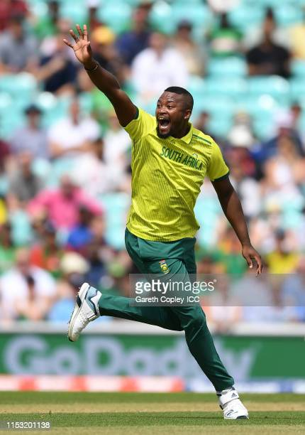 Andile Phehlukwayo of South Africa unsuccessfully appeals for the wicket of Soumya Sarkar of Bangladesh during the Group Stage match of the ICC...