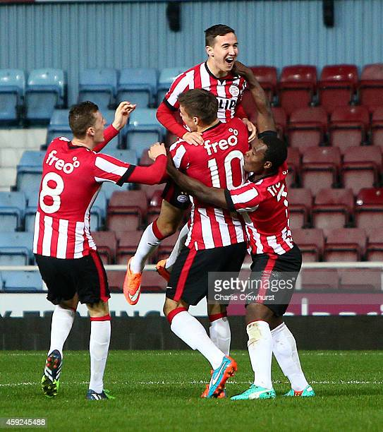 Andjelo Rudovic of PSV celebrates with team mates after scoring the teams first goal of the game during the 2015 Barclays U21 Premier League...