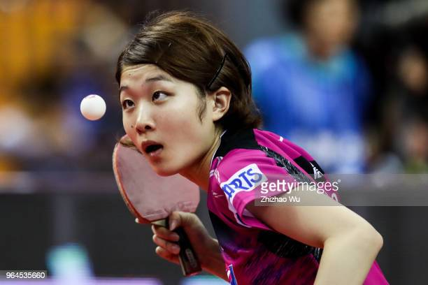 Ando Minami of Japan in action at the women's singles match compete with Zhu Yuling of China during the 2018 ITTF World Tour China Open on May 31,...