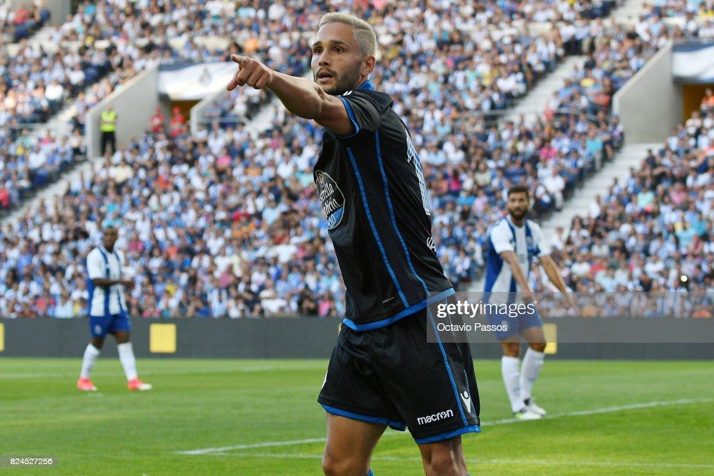 Andone of RC Deportivo La Coruna reacts during the Pre-Season Friendly match between FC Porto and RC Deportivo La Coruna at Estadio do Dragao on July 30, 2017 in Porto, Portugal.