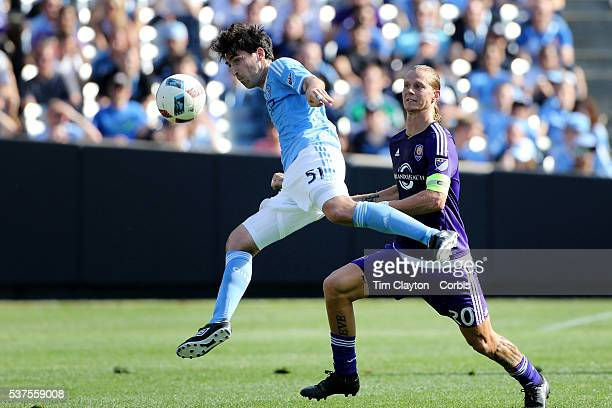 Andoni Iraola of New York City FC heads clear from Brek Shea of Orlando City FC during the New York City FC Vs Orlando City MSL regular season...