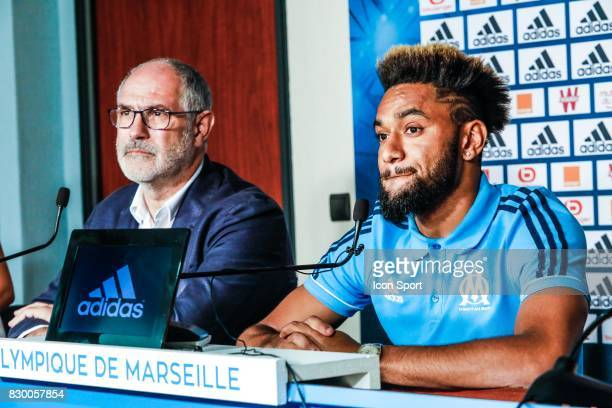 Andoni Zubizarreta of Marseille and Jordan Amavi new player of Marseille during press conference of Olympique de Marseille on August 10 2017 in...