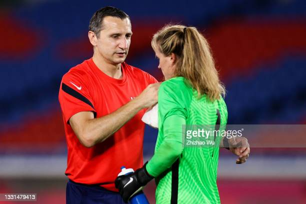 Andonovski Vlatko head coach of United States celebrates the victory with Naeher Alyssa after penalty shot out of the Women's Quarter Final match...