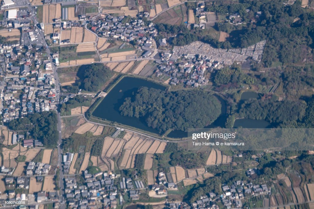 Andonyama Kofun (Burial mound) in Tenri city in Nara prefecture in Japan daytime aerial view from airplane : ストックフォト