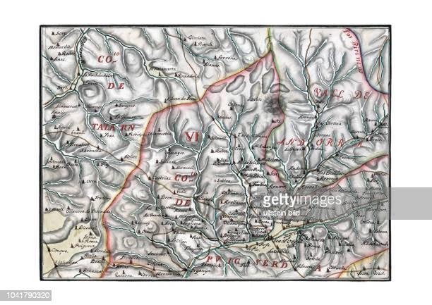 Andorra 1716 Mapa general del principado de Catalu–a y Rossell—n con las fronteras de Francia Aragon y Valencia nuevamente aumentada y corregida por...