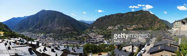 andorra la vella - panorama (andorra) - andorra la vella stock pictures, royalty-free photos & images