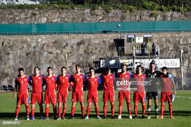 Andorra line up ahead of the UEFA European Under 21 Championship Qualifier between Andorra U21 and England U21 on October 10 2017 in Andorra la Vella...