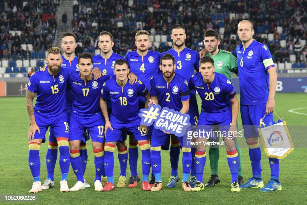 Andorra national team poses during the UEFA Nations League D match between Georgia and Andorra at Boris Paichadze Dinamo Arena on October 13 2018 in...