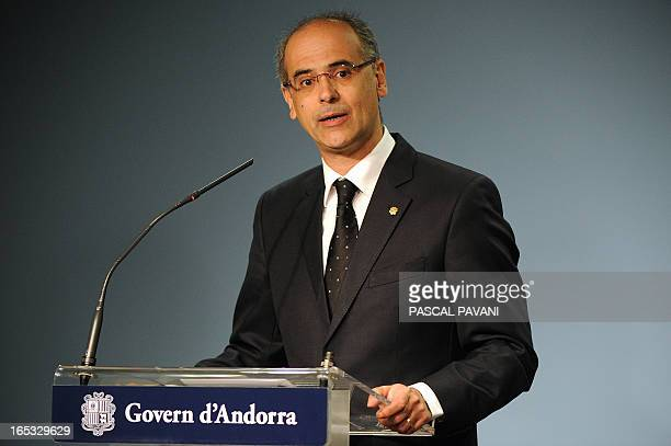 Andorran Prime Minister Antoni Marti gives a press conference on April 2 2013 at the govermnent headquarters of the Andorra principality in Andorra...