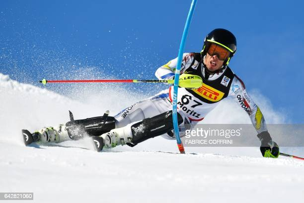 Andorra's Axel Esteve competes in the first run of the men's slalom race at the 2017 FIS Alpine World Ski Championships in St Moritz on February 19...