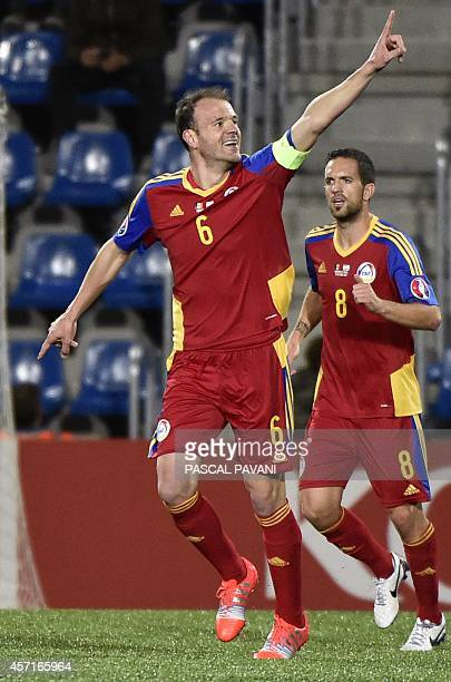 Andorra's defender Idelfons Lima celebrates after scoring a goal from a penalty kick during the Euro 2016 group D qualifying football match between...
