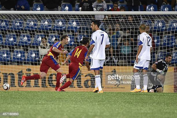 Andorra's defender Idelfons Lima scores a goal from a penalty kick during the Euro 2016 group D qualifying football match between Andorra and Israel...