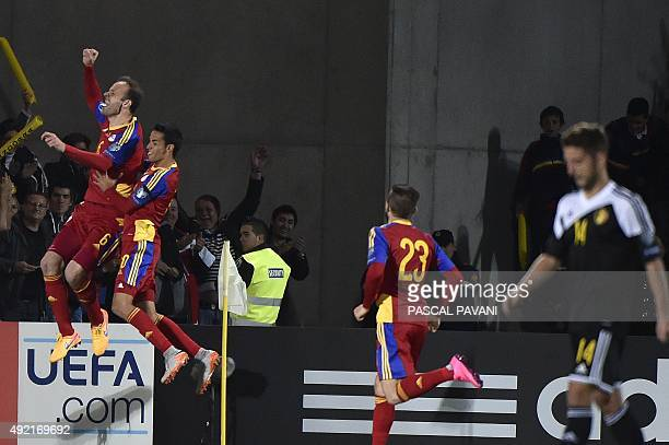 Andorra's defender Ildefons Lima celebrates with teammates after scoring a goal during the Euro Cup 2016 qualifying football match group D Andorra...