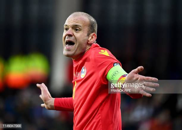 Andorra's defender Ildefons Lima reacts during the UEFA Euro 2020 qualification football match between Andorra and France at the National stadium in...