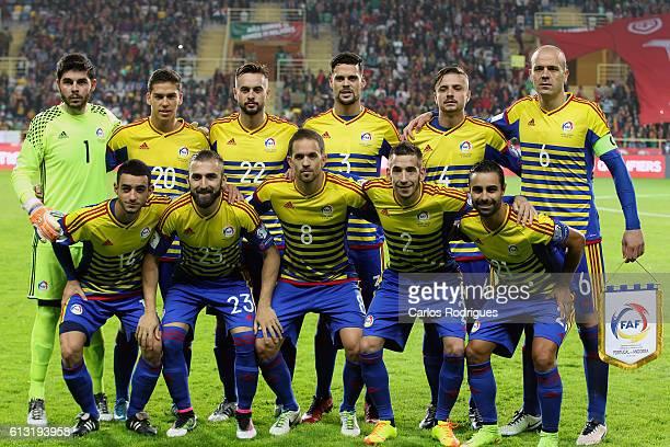 Andorra«s initial team during Portugal v Andorra FIFA 2018 World Cup Qualifier at Estadio Municipal de Aveiro on October 07 2016 in Aveiro Portugal