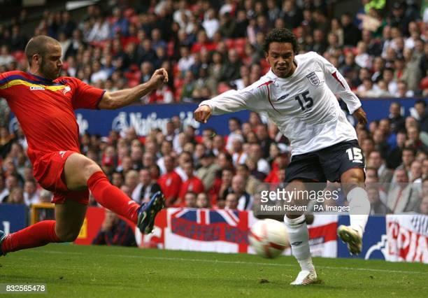 Andorra's Jose Manuel Ayala and England's Kieran Richardson