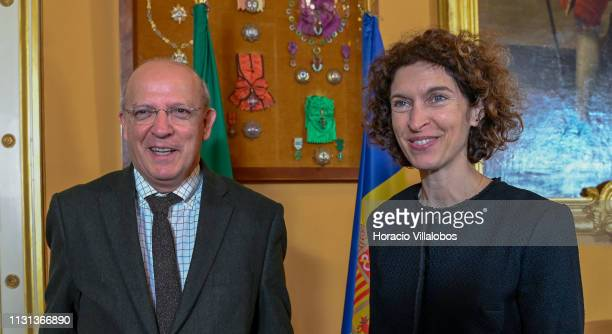 Andorra's Minister of Foreign Affairs Maria Ubach and Portuguese Foreign Minister Augusto Santos Silva smile at the end of their meeting in Palacio...