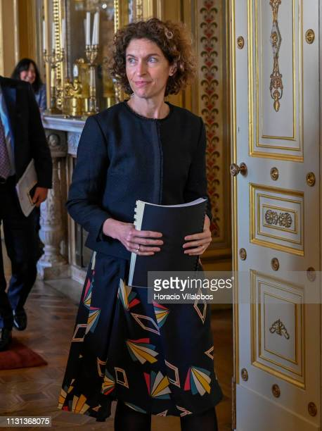 Andorra's Minister of Foreign Affairs Maria Ubach leaves at the end of her meeting with Portuguese Foreign Minister Augusto Santos Silva in Palacio...