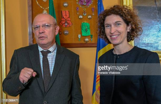 Andorra's Minister of Foreign Affairs Maria Ubach smiles at the end of her meeting with Portuguese Foreign Minister Augusto Santos Silva at Palacio...
