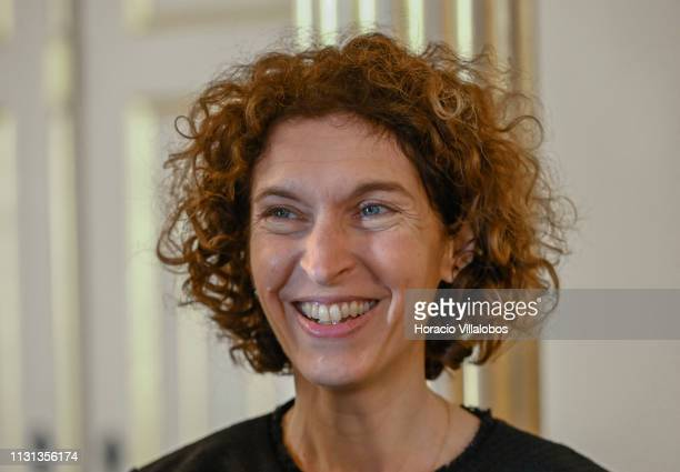 Andorra's Minister of Foreign Affairs Maria Ubach smiles while meeting with Portuguese Foreign Minister Augusto Santos Silva at Palacio das...