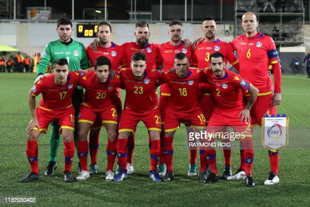 Andorra's players pose for a team picture prior to the European football qualifiers football match between Andorra and Iceland at the National...
