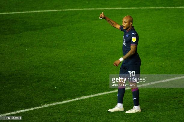 André Ayew of Swansea City during the Sky Bet Championship match between Coventry City and Swansea City at the St Andrews on October 20 2020 in...