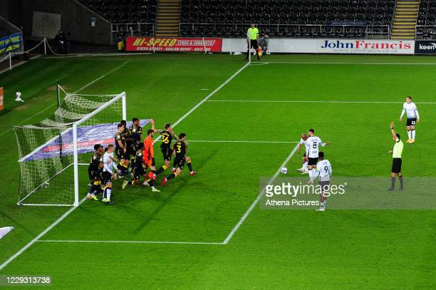 André Ayew of Swansea City has a shot during the Sky Bet Championship match between Swansea City and Stoke City at the Liberty Stadium on October 27...