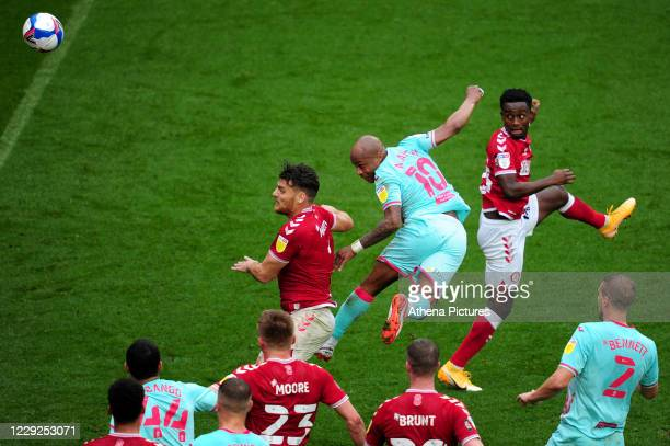 André Ayew of Swansea City in action during the Sky Bet Championship match between Bristol City and Swansea City at Ashton Gate on October 24 2020 in...