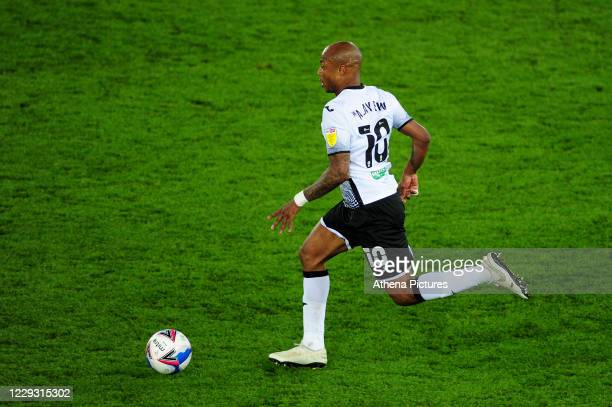 André Ayew of Swansea City in action during the Sky Bet Championship match between Swansea City and Stoke City at the Liberty Stadium on October 27...