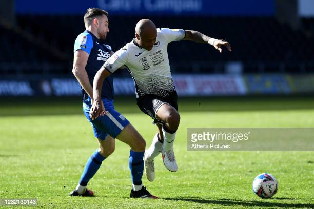 André Ayew of Swansea City in action during the Sky Bet Championship match between Swansea City and Preston North End at the Liberty Stadium on April...