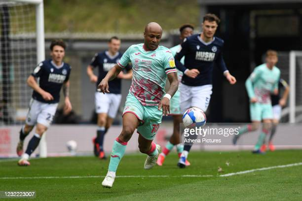 André Ayew of Swansea City in action during the Sky Bet Championship match between Millwall and Swansea City at The Den on April 10, 2021 in London,...
