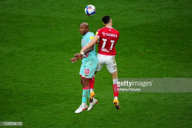 André Ayew of Swansea City vies for possession with Callum O'Dowda of Bristol City during the Sky Bet Championship match between Bristol City and...