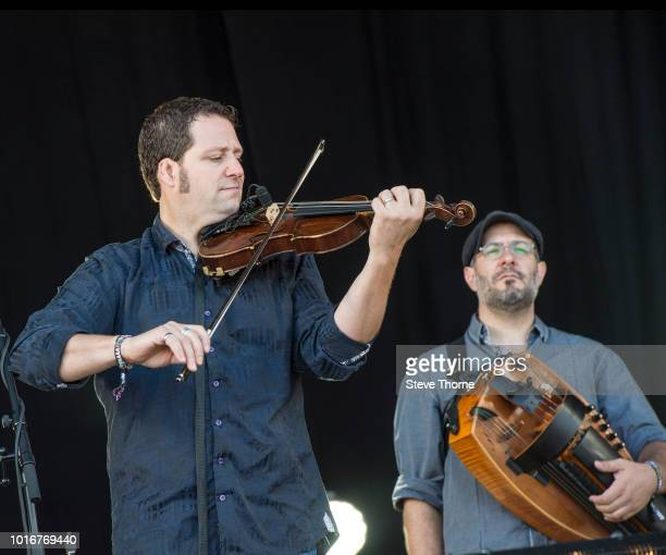 André Brunet and Nicolas Boulerice of Le Vent Du Nord perform at Fairport Convention's Cropredy Convention at Cropredy on August 10 2018 in Banbury...